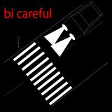 Illustration of the road with a pedestrian crossing at night with the inscription be careful vector illustration
