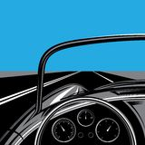 Illustration with road, sky and traveling car vector illustration