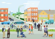 Traffic and pedestrians in city Royalty Free Stock Image