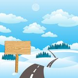 Illustration of the road in winter Royalty Free Stock Photo