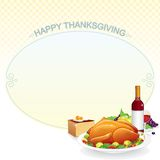Illustration with Roast Turkey Royalty Free Stock Images