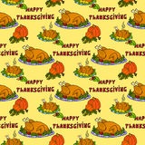 Illustration roasted turkey and pumpkin. Thanksgiving Day. Seamless pattern. Royalty Free Stock Photo