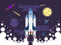 Illustration of rocket flies in outer space in a flat style Stock Photos