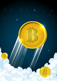 Illustration of rocket flying over clouds with bitcoin icon. Illustration of bitcoin flying over clouds. Bitcoin mining concept, vector. cartoon flat Stock Photos