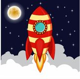 Rocket goes up in the sky with moon stars,Planets and night sky with rocket goes up representing rise of business vector illustration