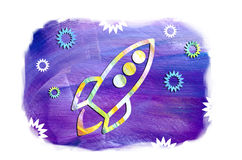 Illustration of rocket ship in space against the background of stars. Beautiful spaceship flying among the stars.UFO day Royalty Free Stock Photos