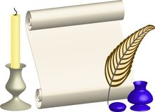 Illustration roll with feather and candle Royalty Free Stock Images