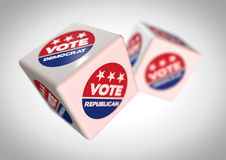 Illustration of Rolling dice with vote reepublican and vote democrat icons on th Stock Photo