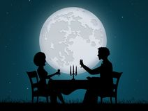 Romantic dinner candlelight for two. Illustration of romantic dinner candlelight for two Stock Image