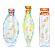 Illustration romantic and fairytale watercolor bottles with air abstract feathers inside. Hand drawn on a white background Stock Illustration