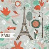 Illustration of romantic urban scene in Paris Royalty Free Stock Photos