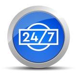24/7 illustration ronde bleue de bouton d'icône illustration stock