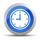 Illustration ronde bleue de bouton d'ic?ne d'horloge illustration libre de droits