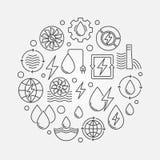 Illustration ronde d'énergie hydraulique illustration stock