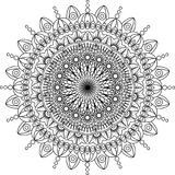 Illustration ronde de mandala Fond de vecteur fond d'isolement et blanc Image stock