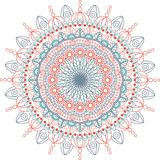 Illustration ronde de mandala Fond de vecteur fond d'isolement et blanc Photos stock