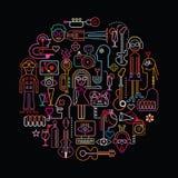 Illustration ronde de partie de disco illustration de vecteur