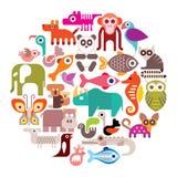 Illustration ronde de vecteur d'animaux Image libre de droits