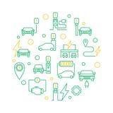 Illustration ronde de vert de vecteur de station de charge de voiture électrique illustration de vecteur