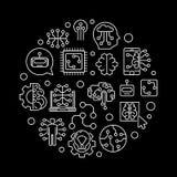 Illustration ronde futuriste de concept d'ensemble de vecteur illustration stock