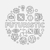 Illustration ronde futuriste de concept de vecteur dans la ligne style mince illustration stock