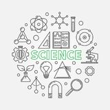 Illustration ronde moderne de vecteur de la Science dans la ligne style mince illustration libre de droits