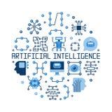 Illustration ronde plate de vecteur d'intelligence artificielle illustration stock