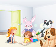 A room with kids and animals Royalty Free Stock Photography