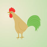 Illustration of a rooster crowing. Rooster symbol of Chinese New Year. In full growth.  bird on white background Royalty Free Stock Photos