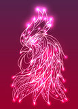 Illustration of a rooster head with boho pattern and tinsel. Stock Photos