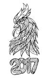 Illustration of a rooster`s head and figures 2017. With Boho pattern. Doodle illustration. Sketch of tattoo prints on T-shirts Royalty Free Stock Photos
