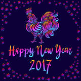 Illustration of a rooster with spread wings colored rainbow colors on a dark background. Below the colored text 2017 Happy new year art Vector Illustration