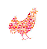 Illustration of rooster, symbol of 2017 on the Chinese calendar. Silhouette of red cock made with watercolor triangles. Element for New Year`s design. Image of Royalty Free Stock Image