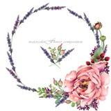 Illustration rose de pivoine composition en fleur d'aquarelle pour des félicitations Photographie stock libre de droits