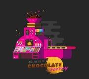 Illustration rose de vecteur d'usine de chocolat Image stock