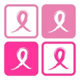 Illustration rose de vecteur de rubans de conscience de cancer du sein Images stock