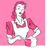 Illustration rose de vintage de femme Photos libres de droits