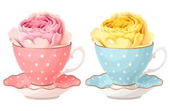 Illustration of rose in teacup. Vector illustration of rose in teacup in two color variants Royalty Free Stock Photo