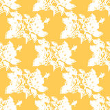 Illustration roses. Flowers on a yellow background. Seamless pattern. Stock Image