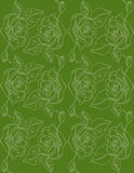 Illustration. Roses on a green background. Seamless pattern. Royalty Free Stock Photos
