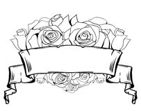 Illustration of roses and old scroll. Royalty Free Stock Image