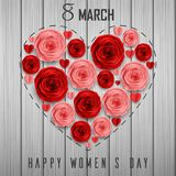 Roses in a shape of heart for International Happy Women`s Day on wooden background. Illustration of Roses in a shape of heart for International Happy Women`s Day vector illustration