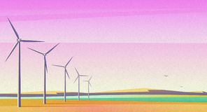 Illustration with rotation windmills for alternative energy resource in spacious field with pink sunset sky. Film camera royalty free stock photography