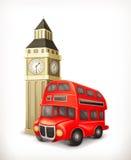 Illustration rouge d'autobus de Londres illustration stock