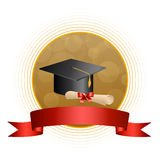 Illustration rouge de cadre de cercle de ruban d'arc d'éducation de fond d'obtention du diplôme de diplôme beige abstrait de chap Image libre de droits