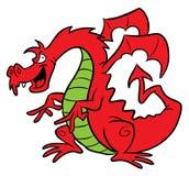 Illustration rouge de dessin animé de dragon