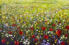 Illustration rouge de jaune, pourpres et blanches de fleurs de peinture à l'huile de gisement de fleur de pavots, Photos libres de droits
