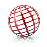 Illustration rouge de l'icône 3d de globe illustration stock