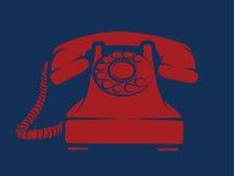 Illustration rouge de téléphone de ligne directe Images stock