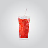 Illustration rouge polygonale de tasse de papier Photo libre de droits
